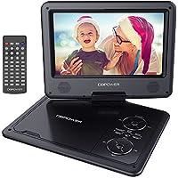 """DBPOWER 9.5"""" Lecteur DVD Portable, pile rechargeable de 5 heures, avec écran orientable, compatibilité carte SD et interface USB, lit directement les formats AVI, RMVB, MP3 et JPEG (Noir, 9.5)"""