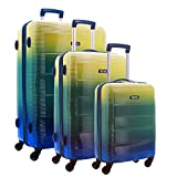 TEKMi CAPRI - Lot de 3 valises - Polycarbonate - Serrure TSA (Jaune Vert Bleu)