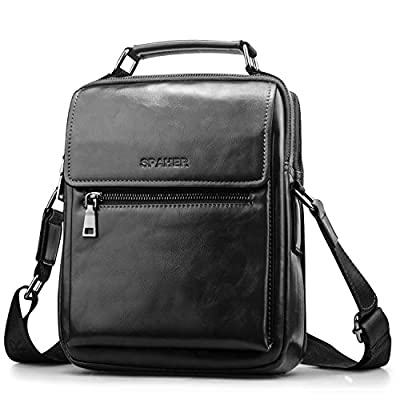 SPAHER Ipad Sacoche Homme Bandouliere cuir Pochette Epaule Hommes Sac a Main Sac a Dos Sac Bandouliere Sac Hommes Besace Porté Main Cartable Grand Entreprise Messager Crossbody Sacoche