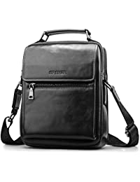 SPAHER Men Leather Shoulder Bag Handbag IPAD Business Messenger Backpack  Crossbody Casual Tote Sling Travel Bag a587232e423d0