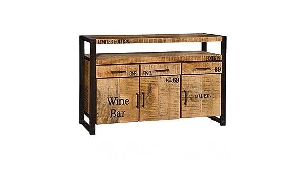 Credenza Industrial Fai Da Te : Credenza industrial wine in legno massello naturale e