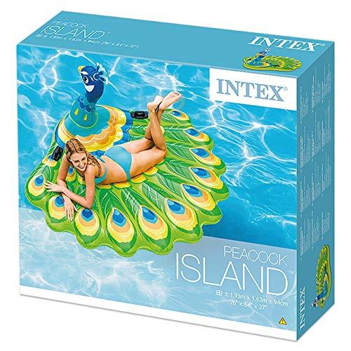 Intex - Isola da Bagno a Forma di Pavone, Materasso ad Aria con Manici, 193 cm