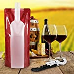 Jarger Foldable Wine Bag, 750 ml, Portable Reusable Plastic Wine Bottle Pouch, 4 Pack Collapsible Liquid Leak Proof Flask Holder for Wine Liquor Beverages, Travel, Gift - Red 12