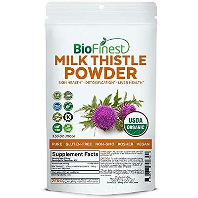Biofinest Milk Thistle Extract Powder - USDA Certified Organic Pure Gluten-Free Non-GMO Kosher Vegan Friendly - Supplement for Detoxification, Liver Health, Skin Care, Heart Heath (100g)