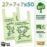 Palucart® scatolo da 500 shopper biodegradabili compostabili a norma 2018 (27+7+7x50)
