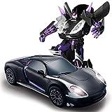 Kikioo 2.4GHZ Voiture télécommandée - Robot à transformateur rechargeable en mode Dual à une touche Transformer/Détection de geste Rotation électronique RC 360 ° Dérive des voitures cascadeurs Son e