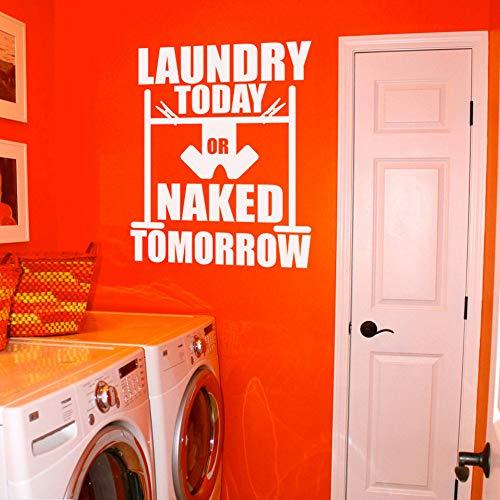 Yzybz Wäsche Heute Oder Morgen Nackt Zitat Wandaufkleber Waschküche Dekor Abnehmbare Wäsche Wandtattoo Tuch Washer Wandbilder