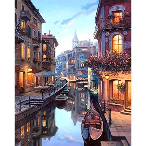 Malen Nach Zahlen Venedig Nacht Landschaft DIY Malen nach Zahlen Kits Färbung Malen nach Zahlen Home Wand Kunst Dekor für einzigartiges Geschenk gerahmt 40x50 cm -