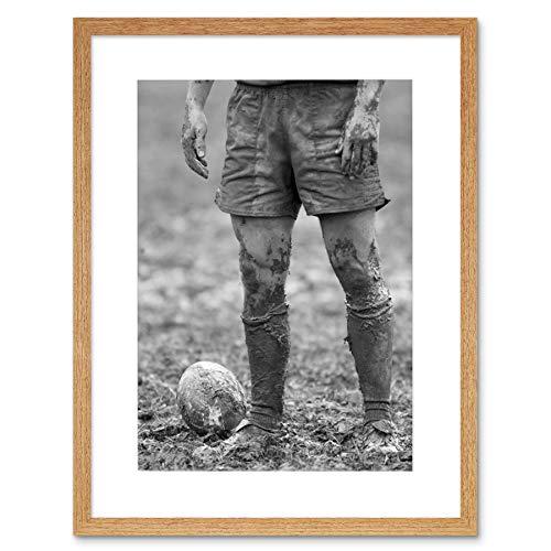 DT BALL RUGBY MUD BOWL BLACK FRAME FRAMED ART PRINT PICTURE MOUNT B12X8639 -