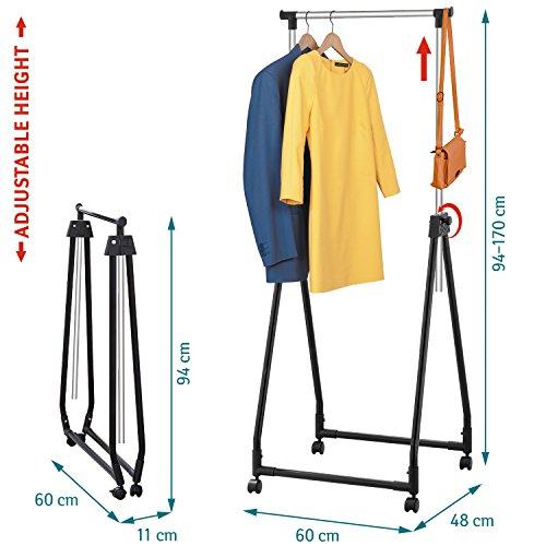 Tatkraft Swift Faltbare Kompakter Beweglicher Kleiderständer Klappbar auf Rollen Stahl Verchromt