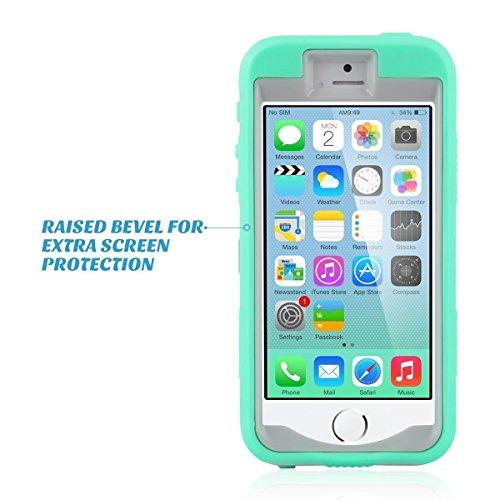 iPhone 5s SE Hülle, ULAK iPhone 5S Case 3in1 Stoßfest Hybrid High Impact Hart PC und Weiche Silikon Schutzhülle Tasche Case Cover für Apple iPhone 5/5S/SE (Schwarz+Lila) 3in1-Mint + Grau