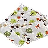 Westeng, sacche di cotone con cordini, borse di lino, sacchetto regalo, sacche per intimo, borse da viaggio, con design floreale, confezione da 3, di 3 dimensioni, Cotone e lino, Beige D, S/M/L