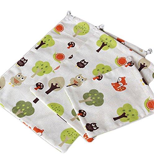 Cdet 3X Bolso de viaje impreso de algodón y lino bolsa de equipaje Pa