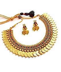 Youbella Red And Green Gold Plated Choker Necklace With Earrings Set For Women