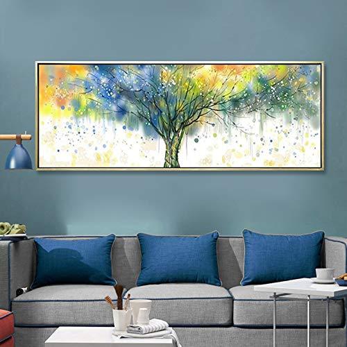 Jnzart albero ricco di quadri colorati immagini su tela quadri murali per soggiorno arte astratta moderna poster stampa artistica senza cornice 30x90cm