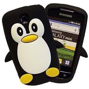 Black Noir Samsung Galaxy Mini S5570 Pingouin Manchot Mignon Étui Housse Coque en Silicone Penguin Case AOA Cases™