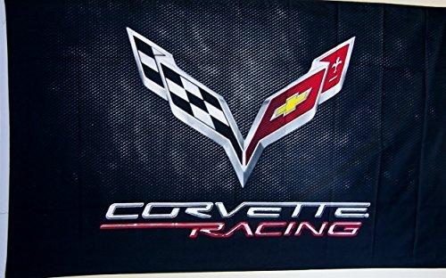 5' Outdoor Indoor Banner (Corvette Black C-7 Car Flag 3' X 5' Indoor Outdoor Auto Banner by Nuge)