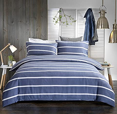 3-Piece Brushed Microfiber Reversible Striped Duvet Cover Set with 2 Pillowcases - Double Size (200X200 CM), Purplish Gray and White Stripe by Exclusivo