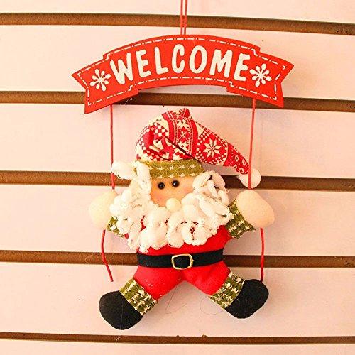 Weihnachten Dekoration Tür Eingang Türschwelle Haus Weihnachtsmann Santa Claus Welcome rot