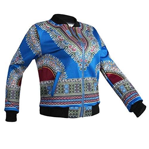 Minzhi Bomber da motociclista classico con cerniera lampo moda donna stampa africana con soprabito a manica lunga con stampa floreale Blu