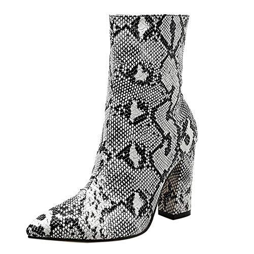 Dorical Stiefeletten Ankle Boots mit Blockabsatz und Reißverschluss für Damen,Frauen Schlange Kunstleder,Spitz mit Absätzen 9 cm Damenstiefel Gr 35-40(A,36 EU)