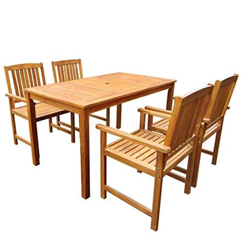 vidaXL Jeu de Table et Chaises d'Extérieur Jardin 5 pcs Acacia Massif Marron