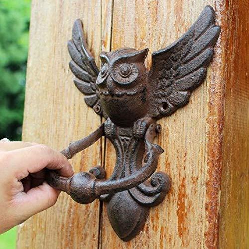CCEKD Türgriff Vintage Türklopfer Gusseisen Eule dekorative Türklopfer Schmiedeeisen Türgriff Latch Antik Tor verzierten Vogel Home Office
