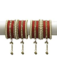 MUCH MORE Elegant Radium Latakhan Bangles Set With Pearl Stone