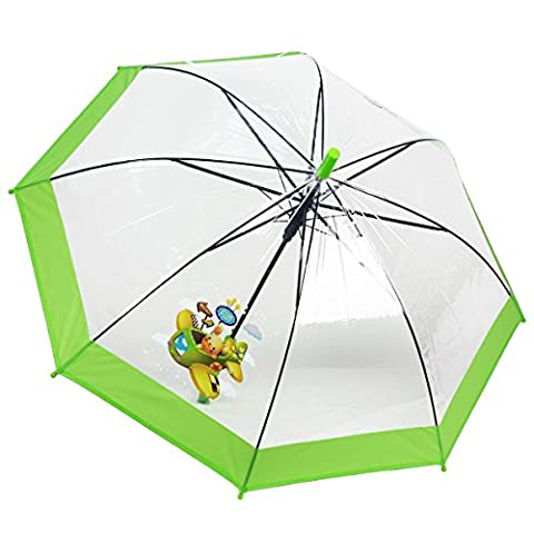 Dr. Neuser Kinder Regenschirm Stockschirm Schirm Kinderschirm Transparent 103 HF, Farbe:Grün