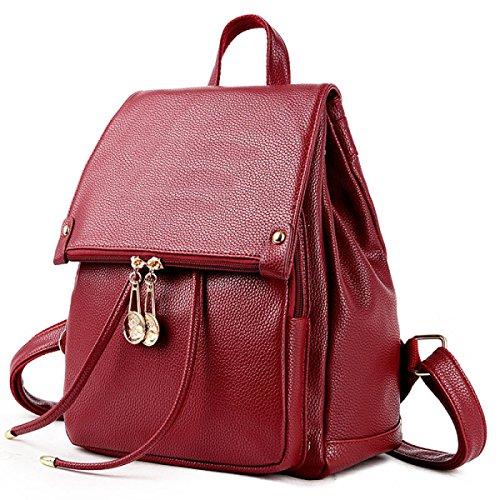 Damen Rucksack Mode Damen Umhängetasche Rucksack PU Leder Reisetasche,Red-OneSize -