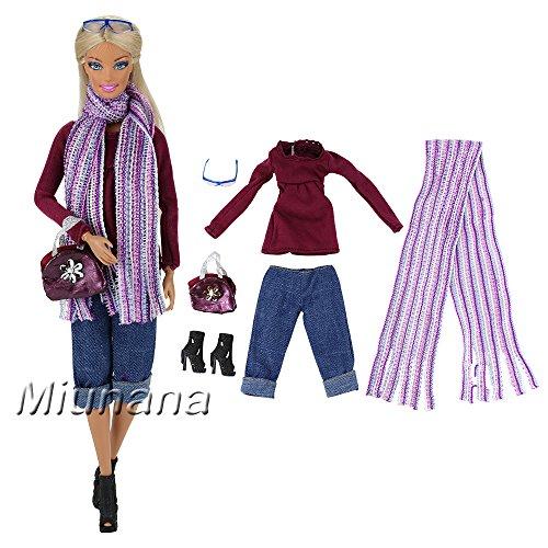 Miunana 1x Traje de Ropa Casual Camiseta Manga Larga Pantalón Bufanda Zapatos Bolso Vestir Casual Accessories como Regalo para Muñeca Barbie Doll