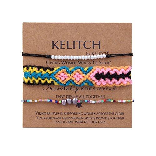 KELITCH Mince Corde Bracelet et Cristal Perles de Rocaille Tressé Amitié Bracelets Sets 3 Pièces #11