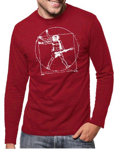 Touchlines Herren T-Shirt Da Vinci Rock Guitar Langarm, Deepred, M, B210513LS Preisvergleich