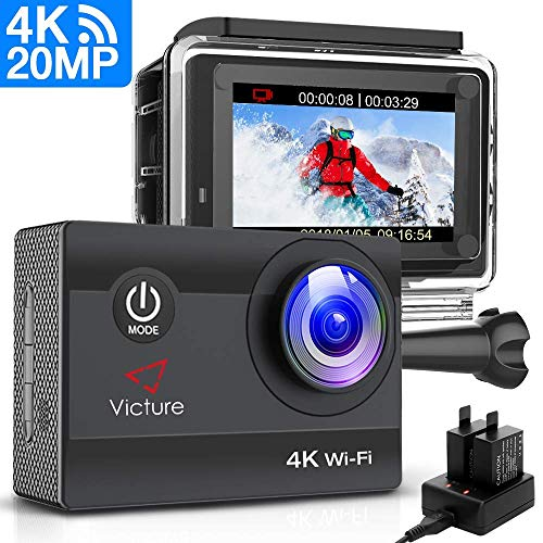 Victure Action Cam 20MP Ultra HD 4K Wi-Fi Impermeabile 40M Immersione Sott\'Acqua 170° Grandangolare Camera con Caricabatteria/Kit Accessori Due 1050mAh Batterie