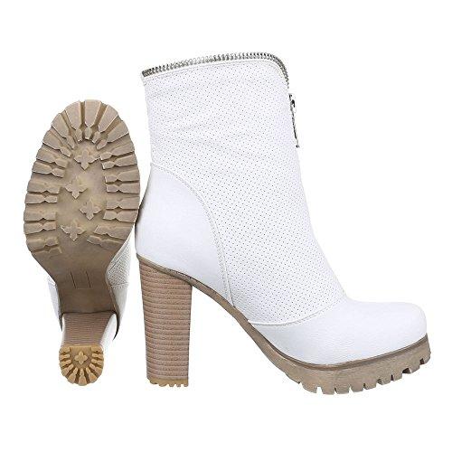 High B16317 Stiefeletten Heel Schuhe Perforierte 1 Weiß Boots Damen 5qXgvt