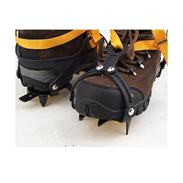 Pinchos para zapatos de nieve, antideslizantes, tipo de correa, Crampons, profesional, para escalada, cinturón de esquí, alta altitud por debajo de los 6 000 pies, para senderismo, nieve, pinchos de hielo, agarres, crampones, limpia, 10 dientes, aleación de manganeso (para zapatos de 36 a 45 talla de la UE, naranja, paquete de 2) 2