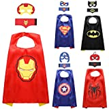 JNEGlo Superhero Capes for Kids – Includes 5 Capes, Masks and Cuffs, for Birthday Gifts, Kids Party Supplies, Children Costumes Party Set, Captain America, Batman, Spiderman, Superman and Iron man