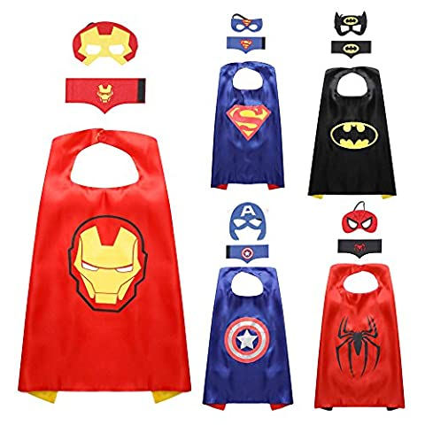 JNEGlo Superhero Capes for Kids – Includes 5 Capes, Masks and Cuffs, for Birthday Gifts, Kids Party Supplies, Children Costumes Party Set, Captain America, Batman, Spiderman, Superman and Iron