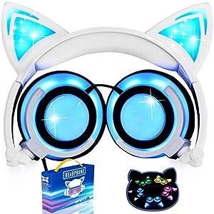 AMENON Katzenohren Ausinės Kinder Ausinės Blinken Glühende Cosplay Fancy Over-Ear Gaming Headset mit LED-Licht für Mädchen Kinder kompatibel für iPhone 6S Android Handys