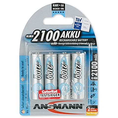 ANSMANN wiederaufladbar LSD Akku Batterie geringe Selbstentladung Mignon AA 2100mAh maxE NiMH vorgeladen sofort einsatzbereit hohe Kapazität ready to use 4er Pack