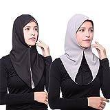iBaste Kopftuch Damen Muslim Kopftuch Chiffon Hijab Islamischen Schal Weicher Einfarbig-GY