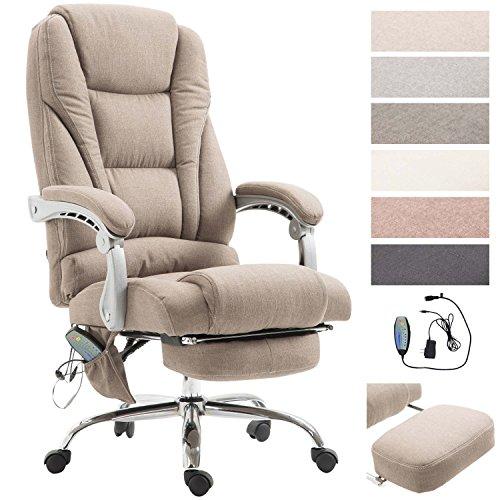 CLP Chefsessel Pacific Stoff mit Massagefunktion l Höhenverstellbarer Bürostuhl mit ausziehbarer Fußablage l Max. belastbar bis 150 kg Taupe
