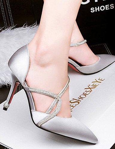 WSS 2016 Chaussures Femme-Décontracté-Noir / Rose / Rouge / Argent / Gris-Talon Aiguille-Talons-Talons-Soie silver-us6.5-7 / eu37 / uk4.5-5 / cn37