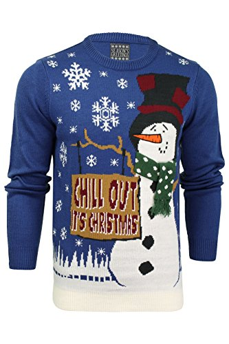 Herren Weihnachts/Xmas Pullover von Seasons Greetings Chill Out - Sapphire