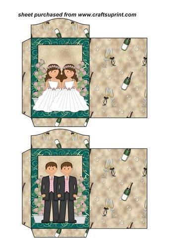 Feuille A4 pour confection de carte de vœux - 2 Brunette civil wedding seed packets par Sharon Poore
