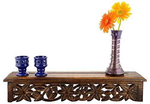 Woodenclave Wooden Wall Bracket Blossom A Wall Shelf/Shelves for Living Room | Floral Design | Antique Finish Brown