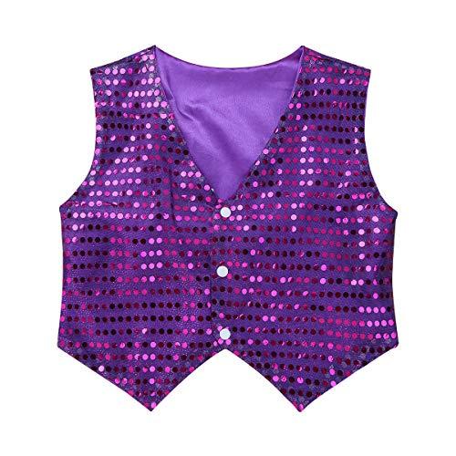 YiZYiF Kinder Jungen Glänzend Weste Pailletten Anzug Weste Festlich Hochzeit Anzug Party Tanz Bekleidung Kostüm Karneval Fasching Verkleidung Violett ()
