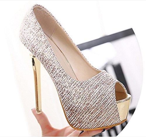 Aisun Damen Sexy Peep Toe Paillette Plateau Stiletto Ultra High Heels Sandalette Pink
