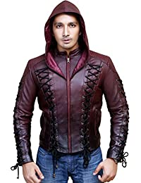 Superior Leather Garments Arrow Arsenal Roy Harper Colton Haynes Hooded Real Leather Jacket