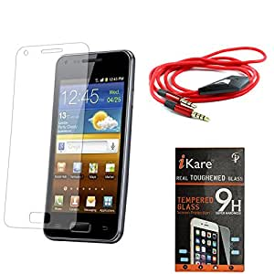 iKare Pack of 2 Premium Shatter Proof Tempered Glass Ultra Clear Screen Protector for SAMSUNG GALAXY NOTE 2 N7100 + 3.5mm Flat AUX Cable with Mic
